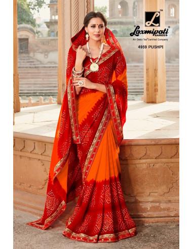 KAMLI 4959 Laxmipati Bandhani Printed Chiffon Multicolor Saree