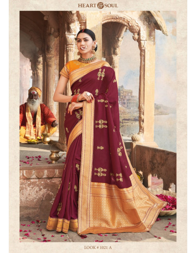 H & S Collection Hs1021A   Heart & Soul Maroon Raw Silk  Saree