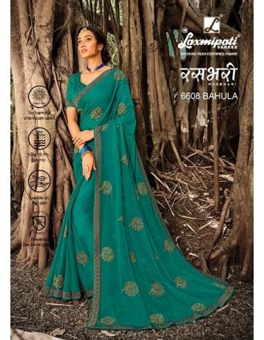 Laxmipati Rashbhari 6608 Blue Chiffon Saree