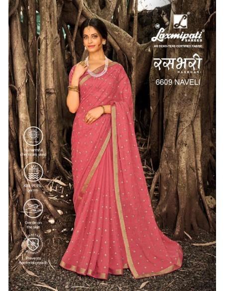 Laxmipati Rashbhari 6609 Aaboli Pink Chiffon Saree