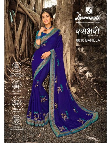 Laxmipati Rashbhari 6610 Royal Blue Chiffon Saree