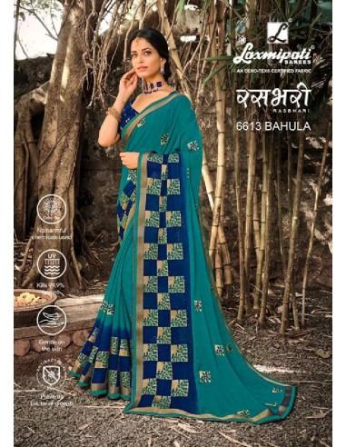 Laxmipati Rashbhari 6613 Blue Chiffon Saree