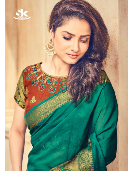 Shivani Collection Green Cotton Saree- 5105