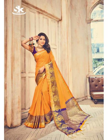 Shivani Collection Yellow Cotton Saree- 5112